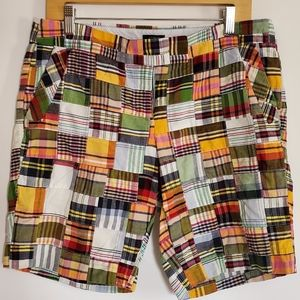 J CREW city fit plaid patchwork shorts